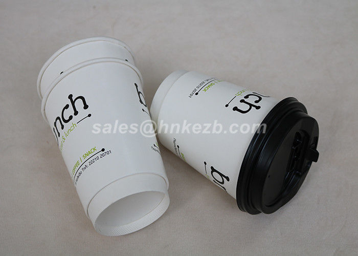 White 16oz Insulated Coffee Paper Cups , Takeaway Coffee Cups With Lids OEM