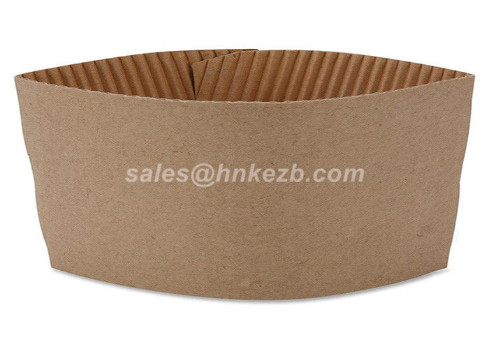Brown Corrugated Custom Coffee Cup Sleeves Recyclable For Hot Coffee